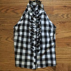Gingham large check blk&wht sleeveless shirt